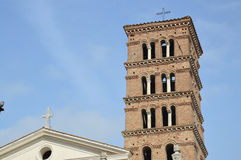 Roman Church Bell Tower. This bell tower sits on the Aventine hill overlooking Rome, Italy. Photo taken April 2015 Stock Photography