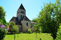 Roman church in the Dordogne, France royalty free stock photo