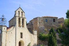 Gigondas,France. 11th century church of saint catherine in the French village of Gigondas, famous for its excellent wines, in the Rhone valley, Provence, France stock photos