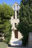 Roman church, Gigondas. 11th century church of saint catherine in the French village of Gigondas, famous for its excellent wines, in the Rhone valley, Provence stock photos