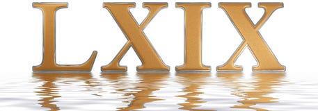 Roman cijfer LXIX, novem et sexaginta, 69, negenenzestig, reflecte Stock Foto's