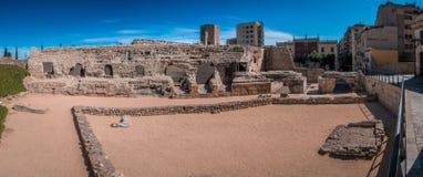 Roman Circus a Tarragona, Costa Dorada, Catalogna, Spagna Panorama da 24 immagini fotografia stock libera da diritti