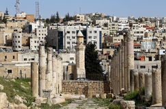 The Roman city of Gerasa and the modern Jerash (in the background) Stock Photography