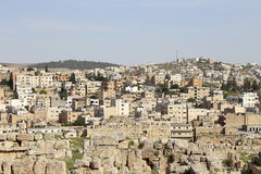 Roman city of Gerasa and the modern Jerash (in the background), Jordan Royalty Free Stock Photography