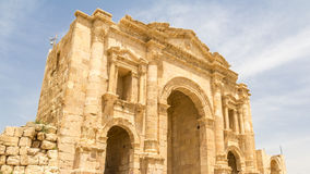 Roman city Jerash in Jordan. Main gate Hadrian`s Arch in Jerash, Jordan Stock Photo