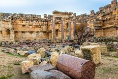Roman city ruins of the ancient Baalbek in Lebanon. World Heritage Site of UNESCO stock images