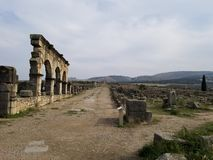 Roman City Volubilis antigo, Marrocos imagens de stock royalty free