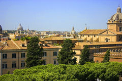 The Roman cityscape. Ancient and famous buildings. A Roman cityscape. Ancient and famous buildings Royalty Free Stock Photography