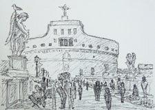Roman cityscape of the Castel Sant Angelo painted by ink. Roman cityscape of the Castel Sant Angelo and Sant Angelo Bridge painted by ink Stock Image