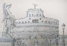 Roman cityscape of the Castel Sant Angelo painted by ink Stock Photo