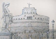 Roman cityscape of the Castel Sant Angelo painted by ink. Roman cityscape of the Castel Sant Angelo and Sant Angelo Bridge painted by ink Stock Photo