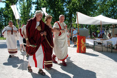 Roman civilians. Walk at Roman camp. Celebration of 2000th anniversary of old Roman city Emona (now Ljubljana), event organized by Historical Society Poetovio Stock Photos