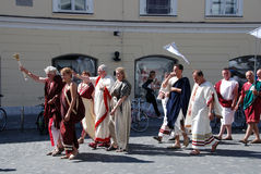 Roman civilians. Walk thru the streets calling ave (Roman salute). 2000th anniversary of old Roman city Emona (now Ljubljana), event organized by Historical Royalty Free Stock Image