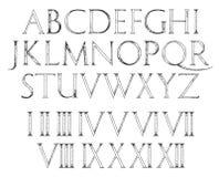 Roman Classic Alphabet moderno con i numeri Fotografia Stock
