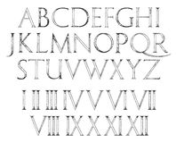 Roman Classic Alphabet moderno con números stock de ilustración