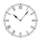 Roman clean clock face. Black and white clock face with easy to read and edit hands Stock Image