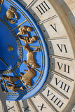 Roman clock. Roman numeral clock with signs of the zodiac stock photo