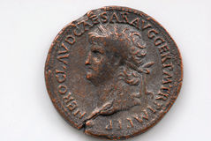 Roman Coin. Depicting Sestertius of Nero showing the portrait of a Roman soldier on a white background Royalty Free Stock Photography