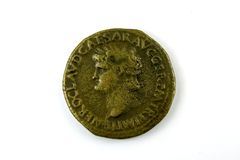 Roman coin of Nero. Dupondius,Roman imperial coin of Nero, 13 October 54 - 9 June 68 A.D Stock Image