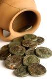 Roman coin,terracotta vase with Roman coins, Royalty Free Stock Photo