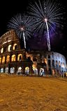 Roman coliseum. Roman coliseum with fireworks on New Year's Eve Stock Photography