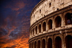 Roman Coliseum. Against a firey sunset Stock Image