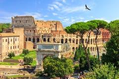 Roman Coliseum e l'arco della vista di estate di Titus, nessuna gente fotografie stock