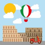 Roman coliseum icon. Italy culture design. Vector graphic. Italy culture concept represented by roman coliseum icon. Colorfull and flat illustration Stock Photography