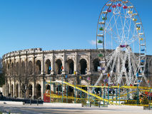 Roman Coliseum - Nimes, France Stock Photography