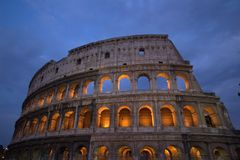 Roman Coliseum, Rome, Italy at night Stock Images