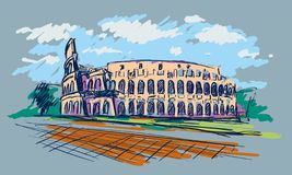 Roman Coliseum. Sight in Rome, Italy. Hand drawn color vector sketch. Roman Coliseum. Sight in Rome, Italy. Hand drawn color vector sketch vector illustration