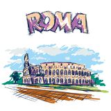 Roman Coliseum. Sight in Rome, Italy. Hand drawn color vector sketch with Roma headline text. Roman Coliseum. Sight in Rome, Italy. Hand drawn color vector stock illustration
