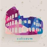 Roman coliseum silhouette made of triangles. Vector stock illustration