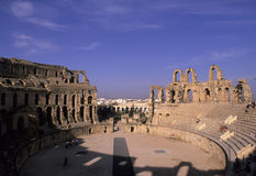 Roman coliseum- Tunisia. Ruins of the 3rd century Roman Coliseum at El Djem, Tunisia Royalty Free Stock Photos