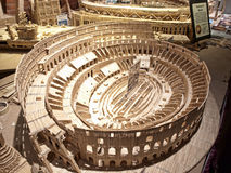 Roman colliseum made of toothpicks. Syracuse, New York, USA- February,2,2014.Roman Colliseum by  Stan Munro a Syracuse artist who makes intricate creations out Stock Photos