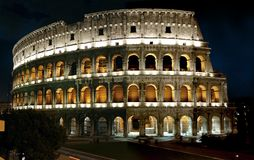Roman Colliseum at night Stock Photography