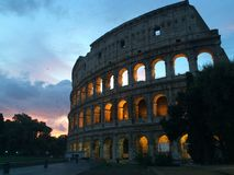 Roman Colloseum in Rome, Italy in the evening.  stock images