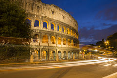 The Roman Coloseum at night. Royalty Free Stock Images
