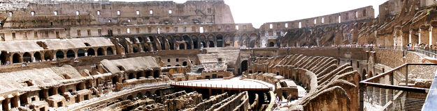 Roman Colosseum. Panoramic view inside the Colosseum Royalty Free Stock Image