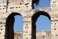 Roman colosseum. Frontage detail. One of the greatest works of Roman architecture and Roman engineering. One of Rome's most popular tourist attractions Royalty Free Stock Image