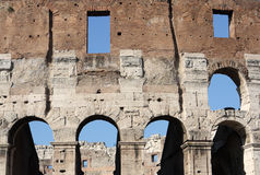 Roman colosseum. Frontage detail. One of the greatest works of Roman architecture and Roman engineering. One of Rome's most popular tourist attractions Stock Photo