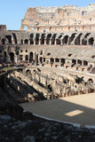 Roman Colosseum. Interior view of the Colosseum, seatings, arena, and hypogeum Stock Photos