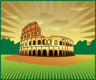Roman Colosseum. Landscape with Roman Colosseum illustration in original style vector illustration