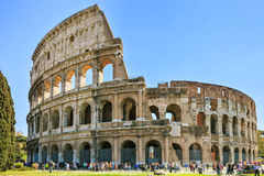 Roman Colosseum architecture landmark in a tilt shift photography. Rome, Italy Stock Photos