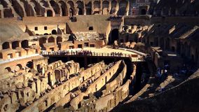 Roman Colosseum Arena. The Colosseum or Coliseum, also known as the Flavian Amphitheatre or Colosseo, is an oval amphitheatre in the centre of the city of Rome stock footage