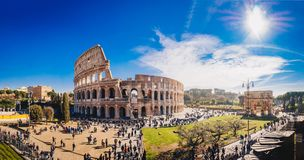 The Roman Colosseum Coloseum in Rome, Italy wide panoramic vie. W. The Colosseum or Coliseum is an oval amphitheatre in the centre of the city of Rome, Italy stock photos