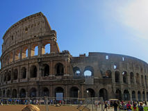 Roman Colosseum Exterior. The Coliseum or Coliseum, also known as the Flavian Amphitheatre is an elliptical amphitheater in the center of the city of Rome, Italy Stock Photos