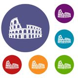 Roman Colosseum icons set. In flat circle reb, blue and green color for web Stock Photography