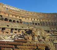 Roman Colosseum Interior 2. The Coliseum or Coliseum, also known as the Flavian Amphitheatre is an elliptical amphitheater in the center of the city of Rome Royalty Free Stock Image