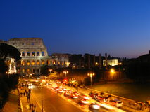 Roman Colosseum at night Stock Photo